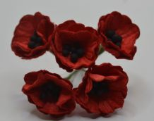 RED POPPY / PAPAVER (1.8 cm) Mulberry Paper Flowers